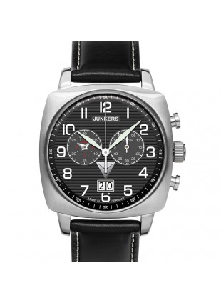 JUNKERS ATLANTIC FLIGHT EAST-WEST 6486-2 QUARTZ WATCH with SWISS RONDA MOVEMENT 50M WR BLACK DIAL
