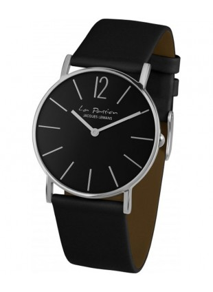 JACQUES LEMANS 'La Passion' Minimalist Quartz Watch 5ATM 40mm Case Black Dial