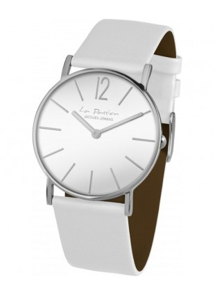 JACQUES LEMANS 'La Passion' Minimalist Quartz Watch 5ATM 40mm Case White Dial