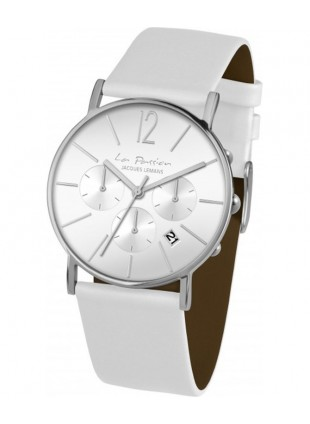 JACQUES LEMANS 'La Passion' Minimalist Chronograph Watch 5ATM 40mm Case Wht Dial