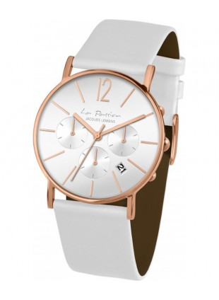 JACQUES LEMANS 'La Passion' Minimalist Chrono Watch 40mm R/Gold Case White Dial