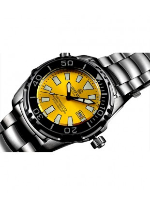DEEP BLUE DEPTHMASTER 3000 II  WATCH AUTO 49mm DATE 28800 bph 3000m YELLOW