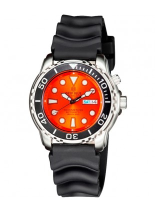 Deep Blue PROTAC 1000m Automatic Diver watch Seiko movt. 45mm BK bez Orange dial