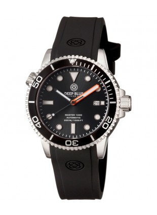 Deep Blue MASTER 1000 DIVER Automatic 44mm watch 330m WR Black dial Orange Hand