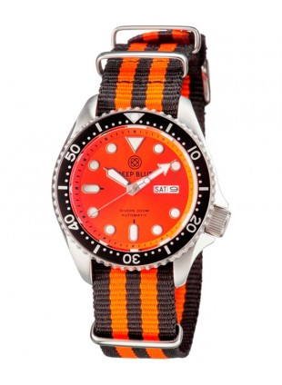Deep Blue NATO DIVER 300 Automatic watch 44mm Steel case Nylon strap Orange dial