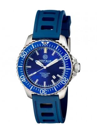 Deep Blue DAYNIGHT DIVER T100 Auto Tritium watch SS case HYDRO 91 Strap Blu Dial