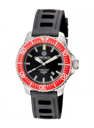 Deep Blue DAYNIGHT DIVER T100 Auto Tritium watch SS case HYDRO 91 Strap RED Dial