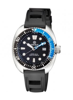 Deep Blue MILITARY DIVER 300 Swiss Automatic watch 44mm Black Bezel Blk/Blu dial