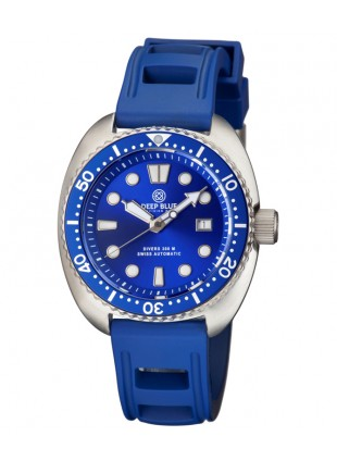 Deep Blue MILITARY DIVER 300 Swiss Automatic watch 44mm Blu Bez/Strap.Blu dial