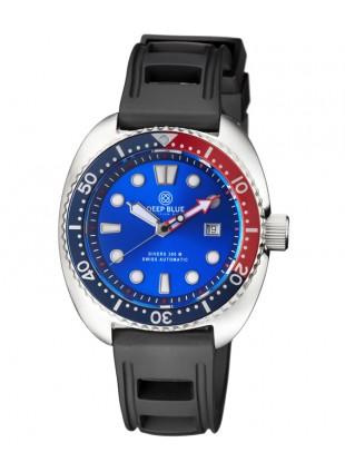 Deep Blue MILITARY DIVER 300 Swiss Automatic watch 44mm Red/Blu Bez Lt.Blu dial