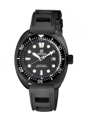 Deep Blue MILITARY DIVER 300 Swiss Automatic watch 44mm PVD Blk Bezel Black dial