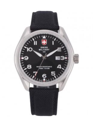 CX Swiss Military MIRAGE Pilot Watch Swiss Quartz Date 10ATM Black Dial 2856