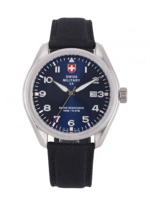 CX Swiss Military MIRAGE Pilot Watch Swiss Quartz Date 10ATM Blue Dial 2857