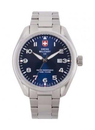 CX Swiss Military MIRAGE Pilot Watch Swiss Quartz Date 10ATM Blue Dial 2861