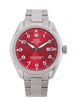 CX Swiss Military MIRAGE Pilot Watch Swiss Quartz Date 10ATM Red Dial 2862