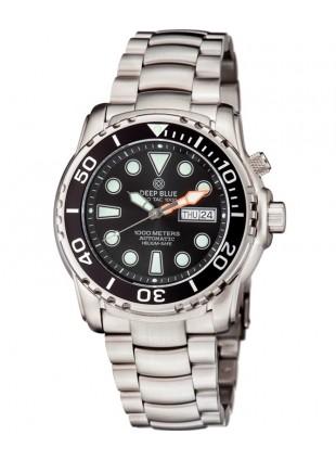 Deep Blue PRO SEA DIVER 1K Automatic Diving Watch 1000m WR SS Bracelet Blk Dial