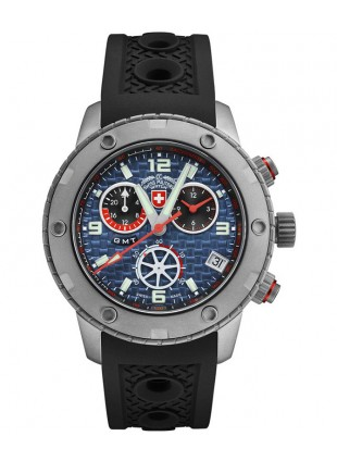 CX Swiss Military RALLYE GMT 44mm Swiss Chrono watch GMT 20ATM Blue dial 2747