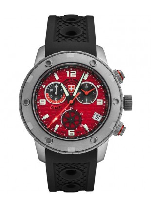 CX Swiss Military RALLYE GMT 44mm Swiss Chrono watch GMT 20ATM Red dial 2748