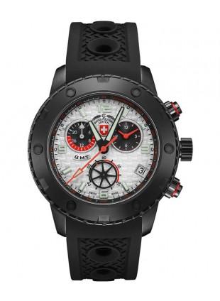 CX Swiss Military RALLYE GMT NERO 44mm DLC Case Chrono watch GMT Silv dial 2750