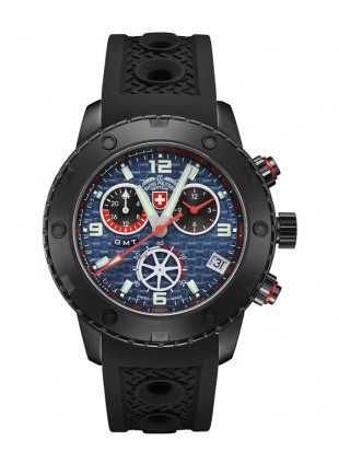 CX Swiss Military RALLYE GMT NERO 44mm DLC Case Chrono watch GMT Blue dial 2752