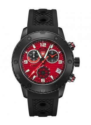 CX Swiss Military RALLYE GMT NERO 44mm DLC Case Chrono watch GMT Red dial 2753