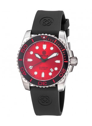 DEEP BLUE Sea Ram 500 II Diving watch Swiss Quartz Blk ceramic bezel Red dial