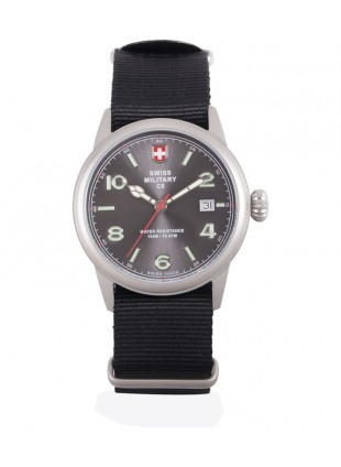 CX Swiss Military SPITFIRE Vintage Watch Swiss Quartz Date 10ATM Grey Dial 2865