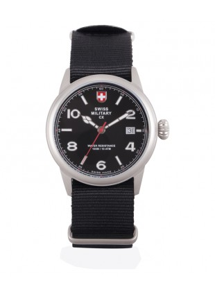 CX Swiss Military SPITFIRE Vintage Watch Swiss Quartz Date 10ATM Black Dial 2866