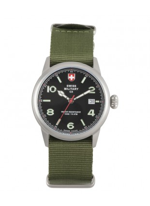 CX Swiss Military SPITFIRE Vintage Watch Swiss Quartz Date 10ATM Green Dial 2867