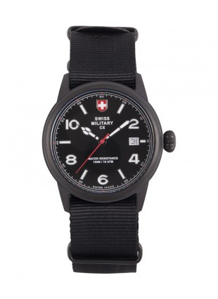 CX Swiss Military SPITFIRE Vintage Watch Swiss Quartz Date 10ATM Black Dial 2868