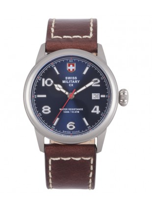 CX Swiss Military SPITFIRE Vintage Watch Swiss Quartz Date 10ATM Blue Dial 2872