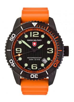 CX Swiss Military MARLIN SCUBA NERO Swiss watch 20ATM Sapphire Blk/Org dial 2708