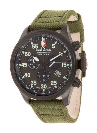 CX Swiss Military HAWK NERO RAWHIDE Chrono watch Black PVD case Olive dial 27321