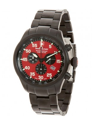 CX Swiss Military HAWK NERO Chrono Swiss watch Black PVD case Red dial 2734