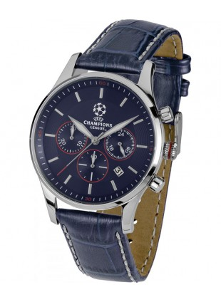 JACQUES LEMANS Quartz Chronograph Sports Watch UEFA 40mm SS Case 10ATM Blu Dial