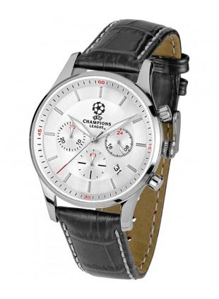 JACQUES LEMANS Quartz Chronograph Sports Watch UEFA 40mm SS Case 10ATM Wht Dial