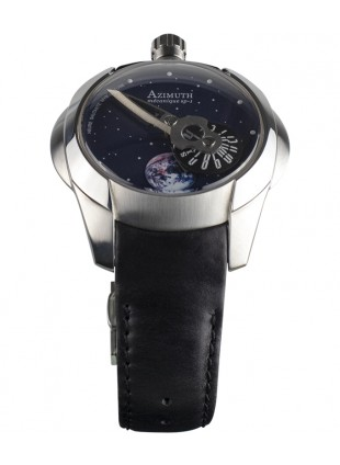 Azimuth Spaceship Rotating Earth Watch Mystery Jumping Hour Steel Case Blue Dial