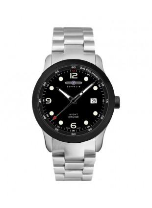 ZEPPELIN Night Cruise Watch German made Swiss Quartz Black dial Bracelet 7240M-2
