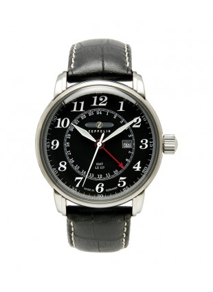 ZEPPELIN LZ127 Swiss quartz GMT watch Dual time Zone Black dial 5ATM 42mm 7642-2