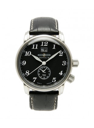 ZEPPELIN LZ127 Swiss quartz watch Big Date Dual time Black dial 5ATM 42mm 7644-2