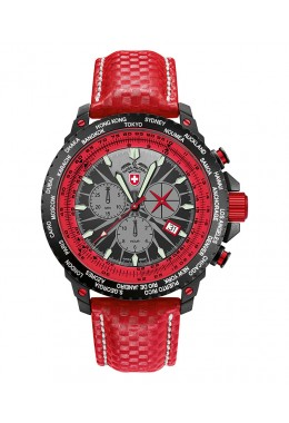 CX SWISS MILITARY HURRICANE WORLDTIMER RAWHIDE WATCH SLIDERULE BEZEL RED