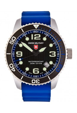 CX Swiss Military MARLIN SCUBA Swiss watch Blue Silicone strap Black dial 27021