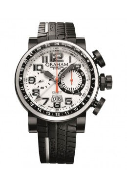 GRAHAM SILVERSTONE STOWE GMT FLYBACK 48MM CHRONO WHITE LTD EDN 2BLCD.W04A.K68N