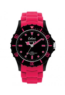 COLORI SUPER SPORTS WATCH 50M WR JAPAN QUARTZ 40mm DIAMETER PINK/BLACK 5-COL098