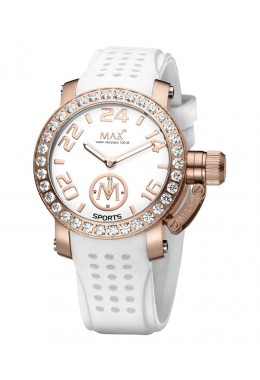 MAX SPORTS WATCH XS36 WHITE DIAL IP ROSE CASE CUBIC ZIRCONIA BEZEL 36mm 5-MAX547