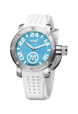 MAX SPORTS WATCH XS36 SKY BLUE DIAL WHITE STRAP 10ATM S/STEEL CASE 36mm 5-MAX560