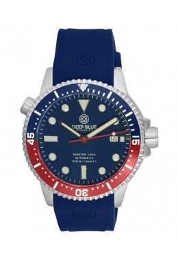 Deep Blue MASTER 1000M AUTOMATIC watch 44mm case Blu/Red Bezel Blue strap & dial