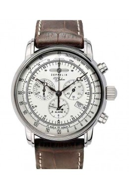 ZEPPELIN 100 YEARS  CHRONO ALARM WATCH SWISS MOVEMENT 50M WR SILVER DIAL 7680-1