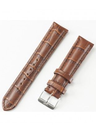 FORTIS Imitation Alligator Strap Brown with brushed Pin buckle 99.598.1640.010